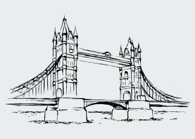 Tower bridge, London, UK. Hand drawn vector illustration