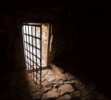 Ancient door of dark room