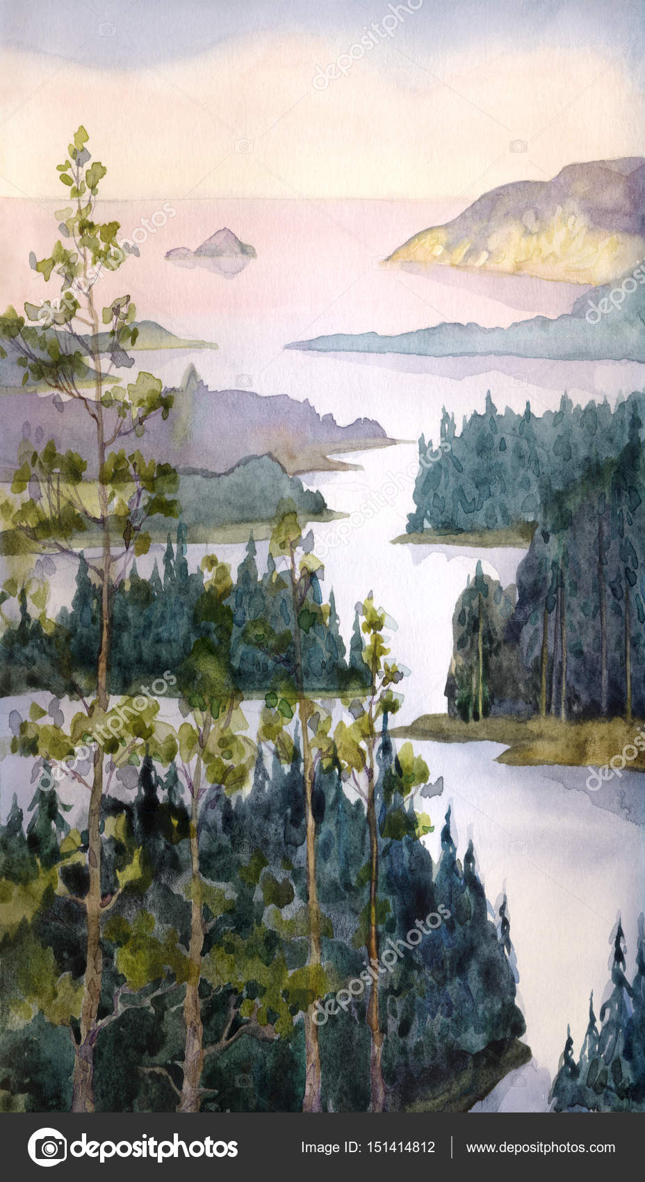watercolor landscape river of spruce forest stock photo c marinka 151414812 watercolor landscape river of spruce forest stock photo c marinka 151414812