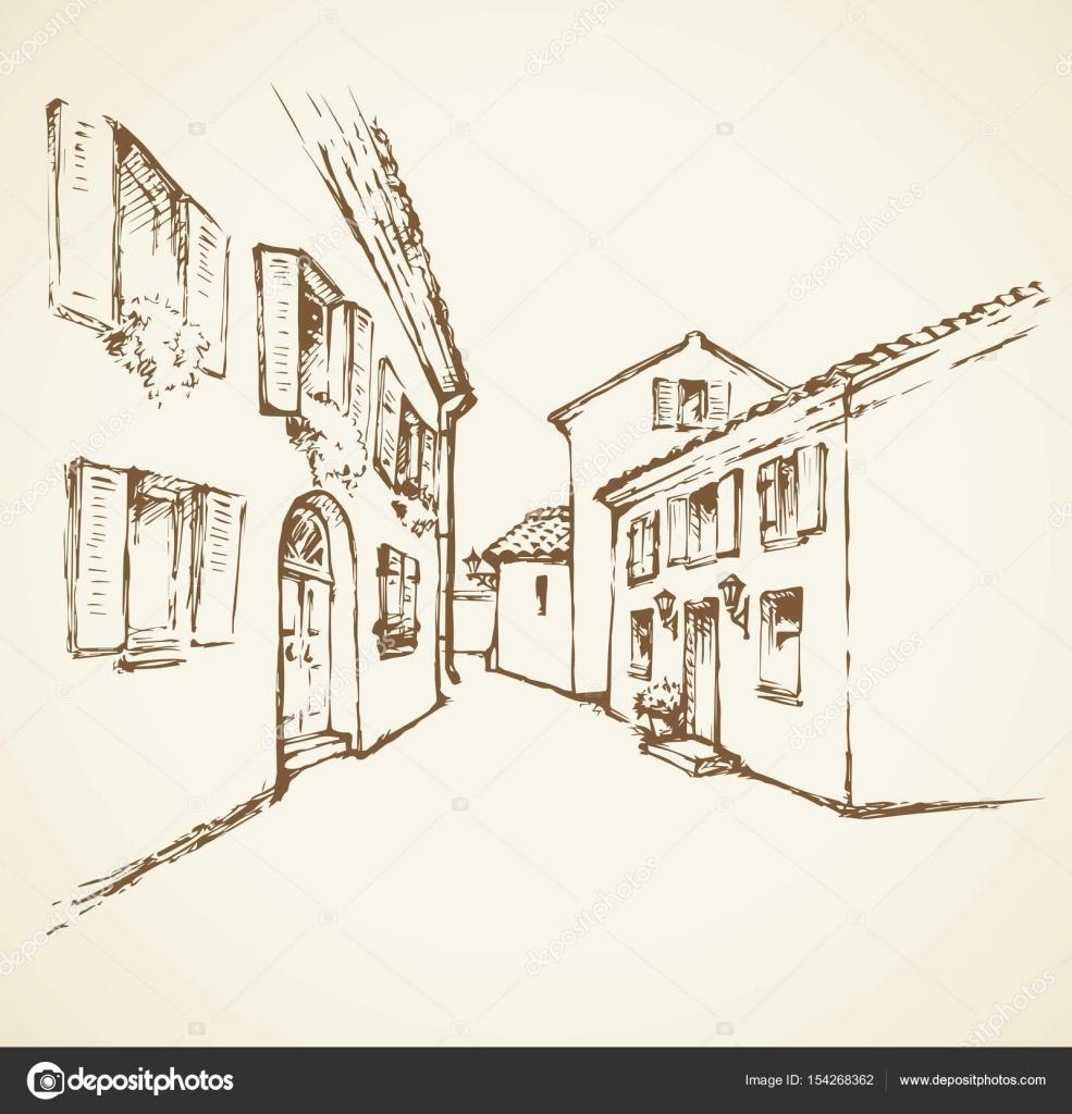 Calle vieja de la ciudad. Dibujo vectorial — Vector de ...
