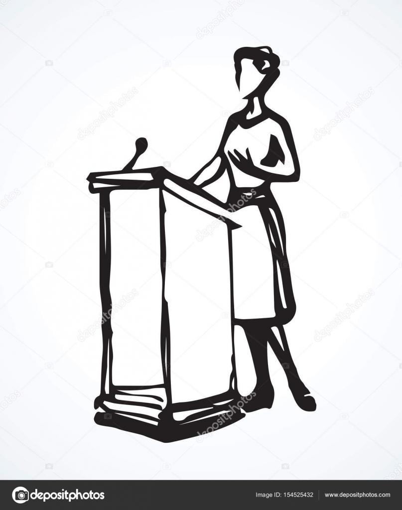 Speaker at podium vector drawing stock vector marinka - Dessin podium ...
