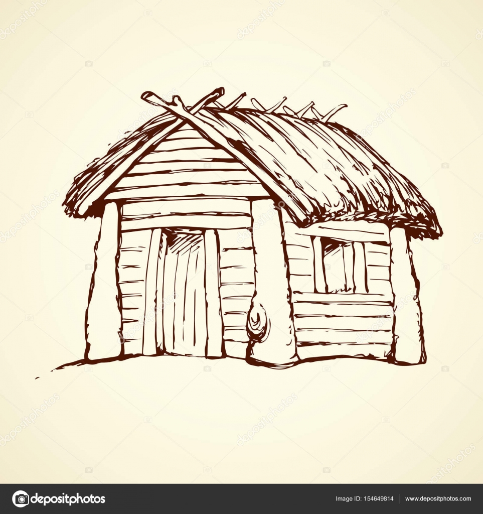 Cozy Wood Plank Barn Facade Isolated On White Backdrop. Retro Loghouse  Abode With Aged Reed Roof. Freehand Outline Black Ink Hand Drawn Picture  Sketchy In ...