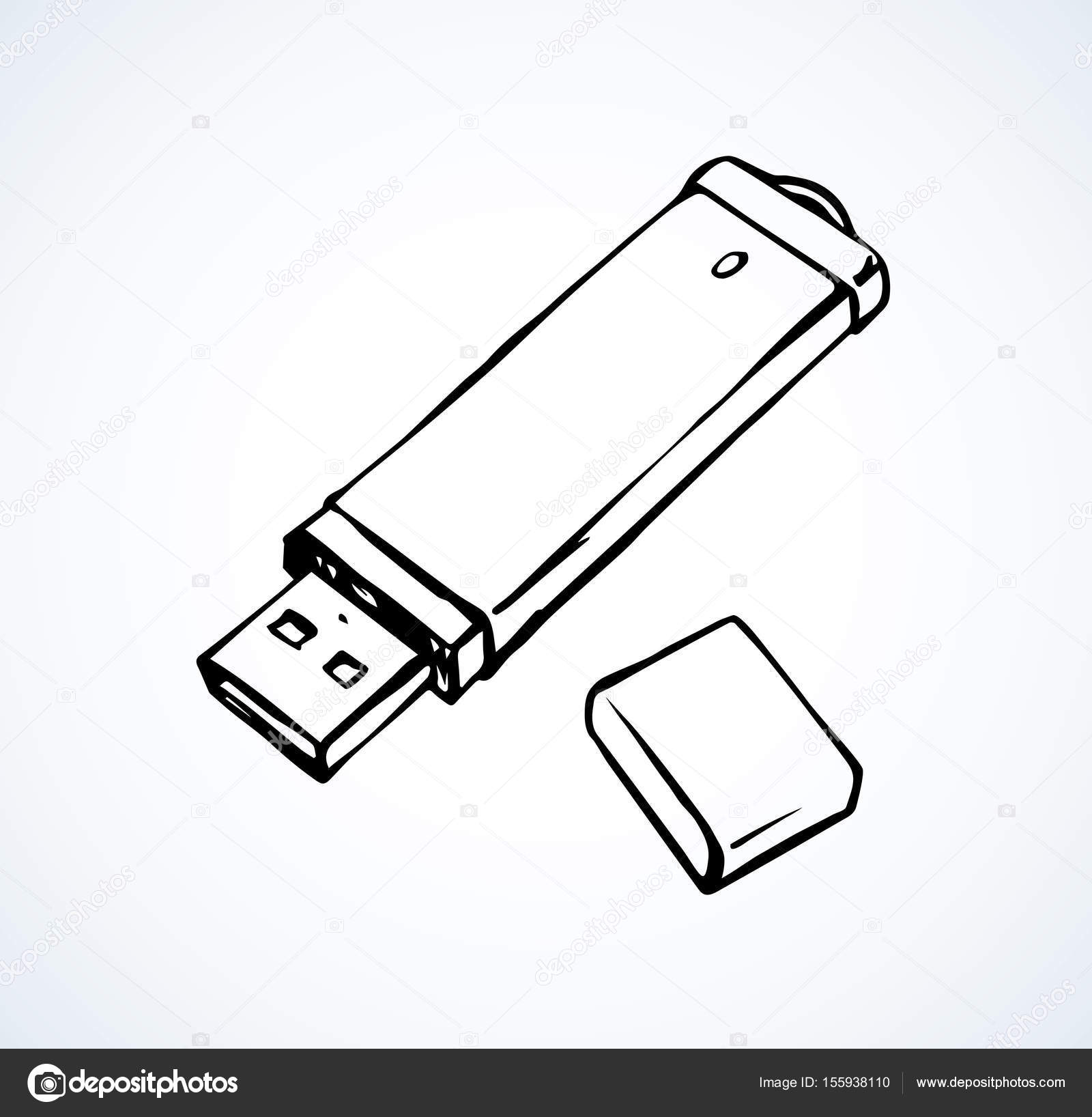 Flash drive  Vector drawing — Stock Vector © Marinka #155938110