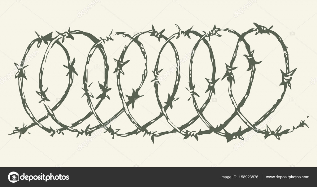 Barbed wire. Vector drawing — Stock Vector © Marinka #158923876