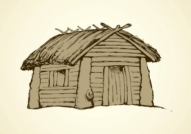 Wooden house. Vector drawing