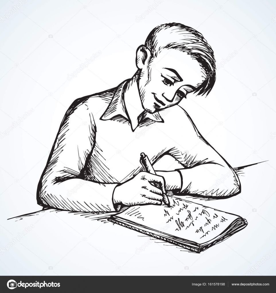 Boy Is Writing Letter Vector Drawing Stock