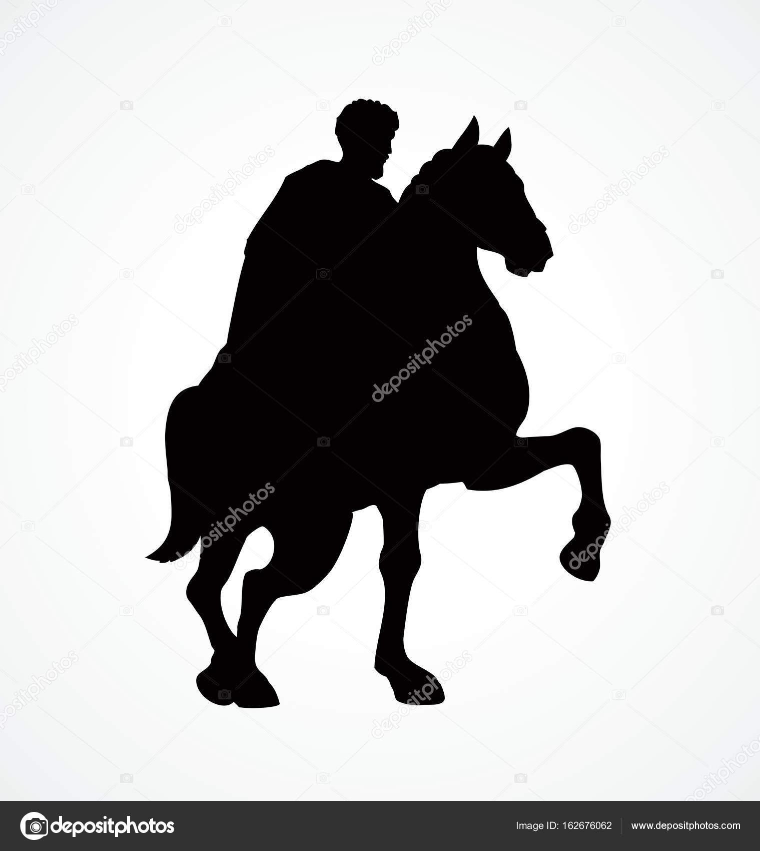 Jinete a caballo. Dibujo vectorial — Archivo Imágenes Vectoriales ...
