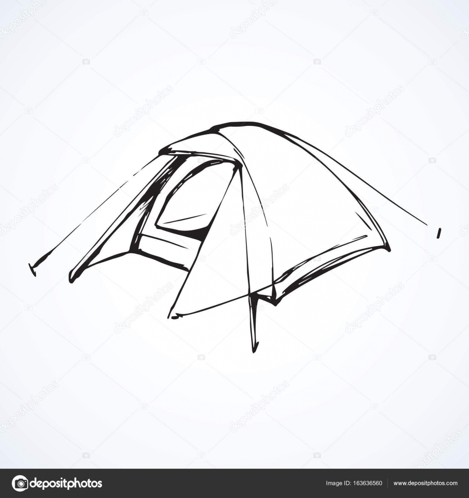 Tent. Vector drawing u2014 Stock Vector  sc 1 st  Depositphotos & Tent. Vector drawing u2014 Stock Vector © Marinka #163636560
