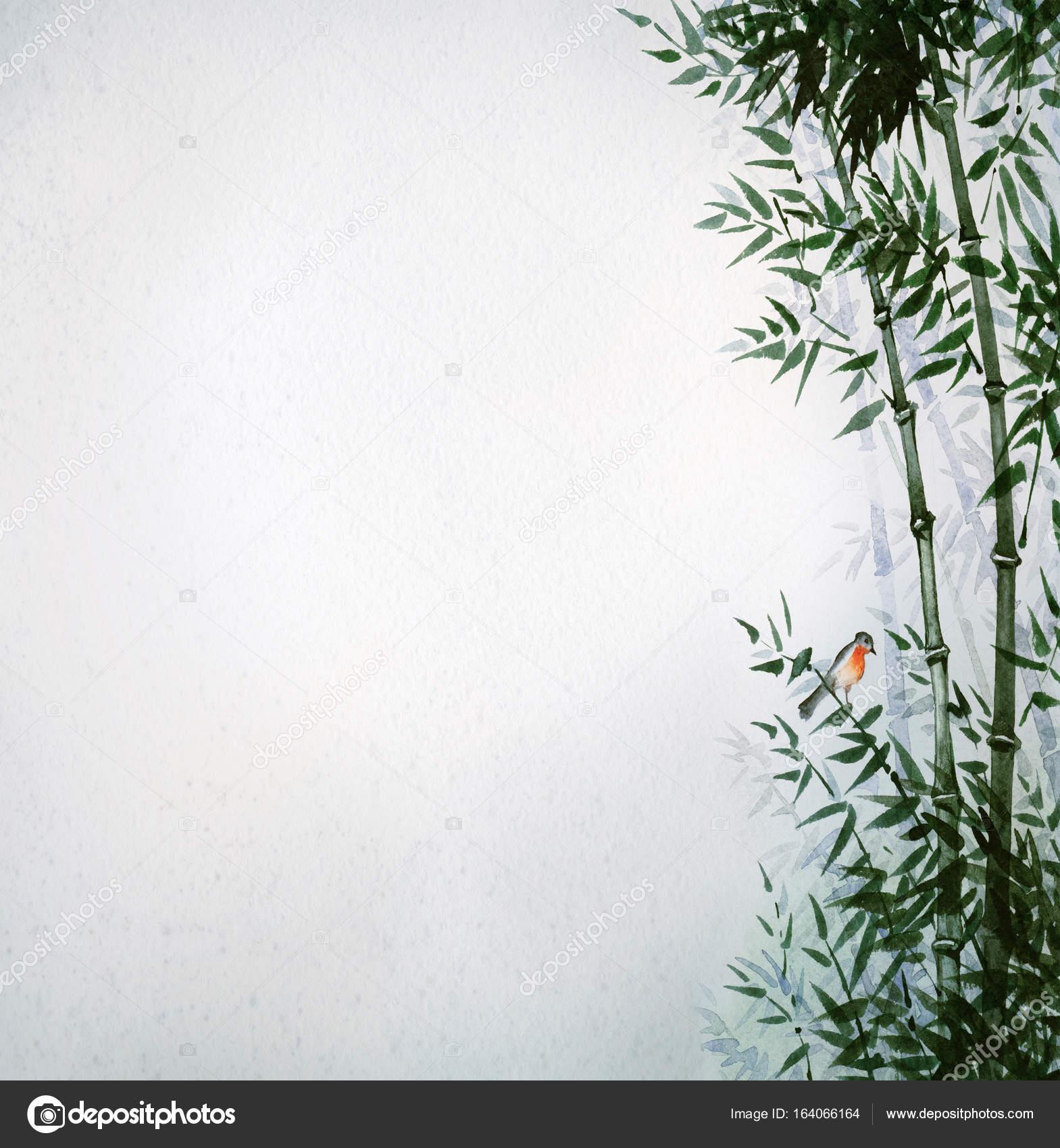 Der Kleine Vogel In Einem Bambushain Das Bild Im Japanischen Stil