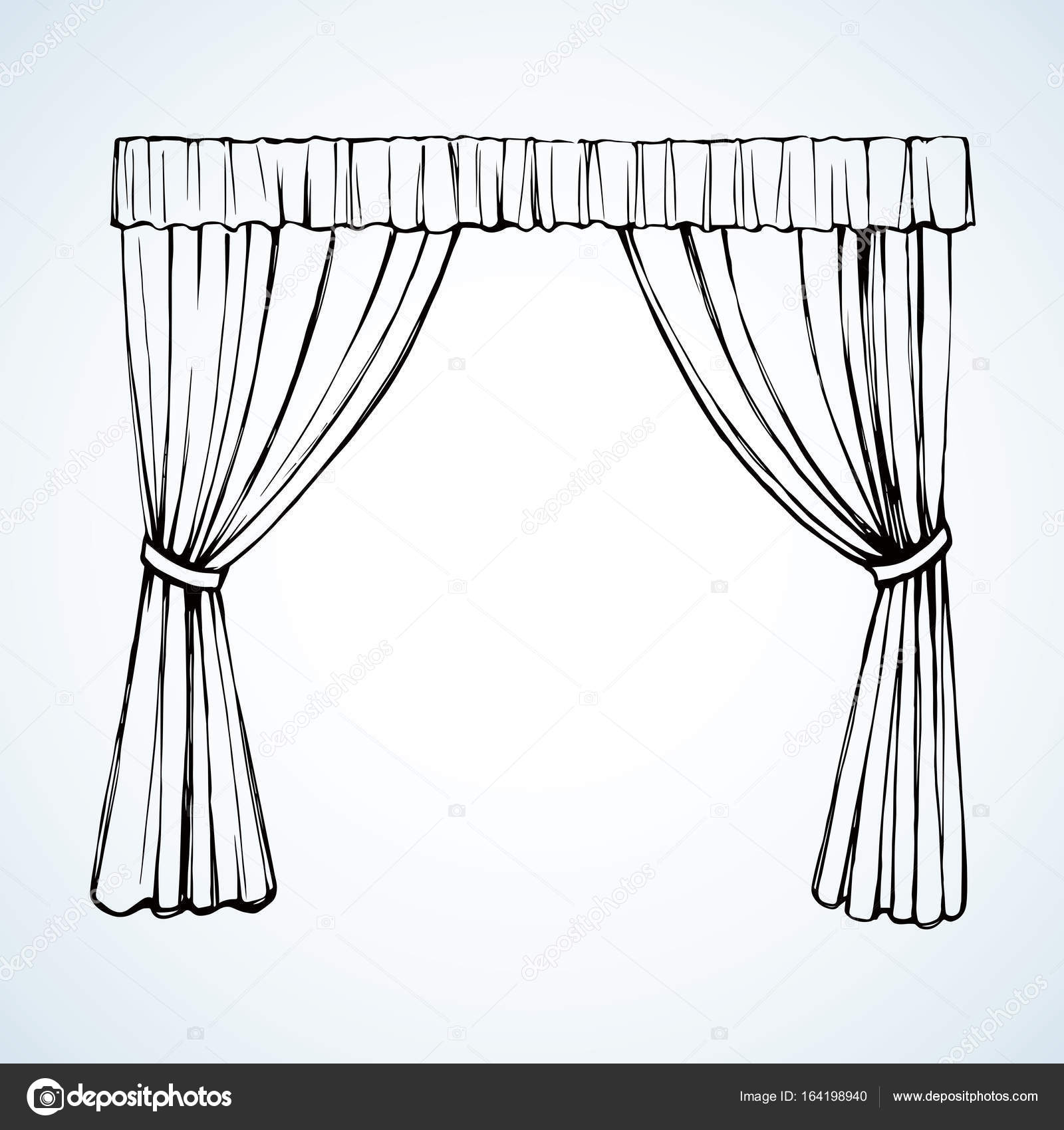 curtain vector drawing � stock vector 169 marinka 164198940