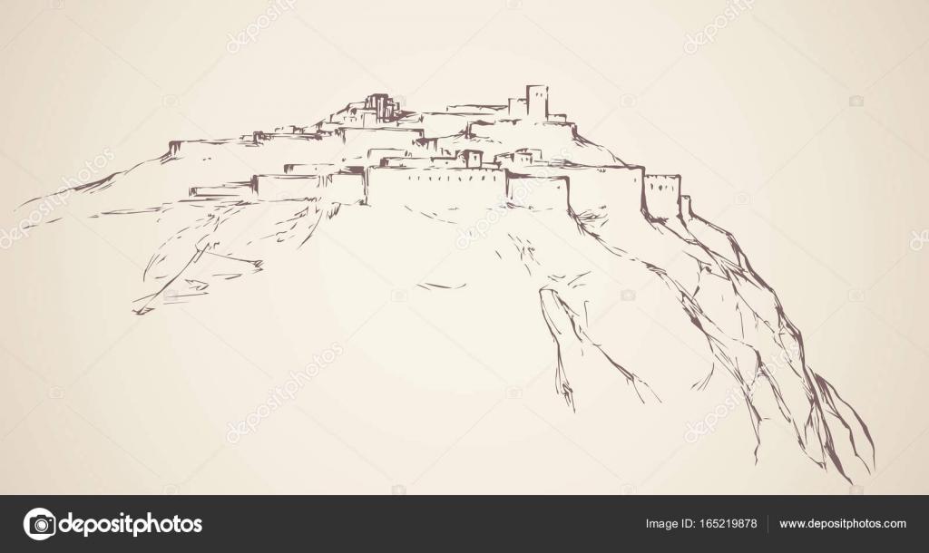 Ancienne ville sur le rocher. Dessin vectoriel — Image vectorielle ...