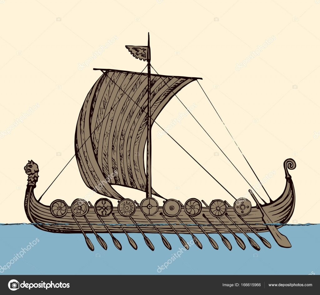 Ancient Viking ship. Vector drawing — Stock Vector ...