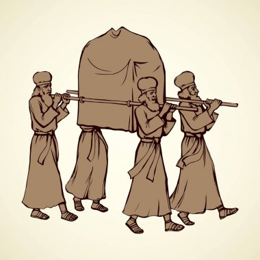 Priests carry the ark. Vector drawing