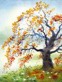 Fotografie Aquarell Landschaft. Herbst Baum in trüben Tag
