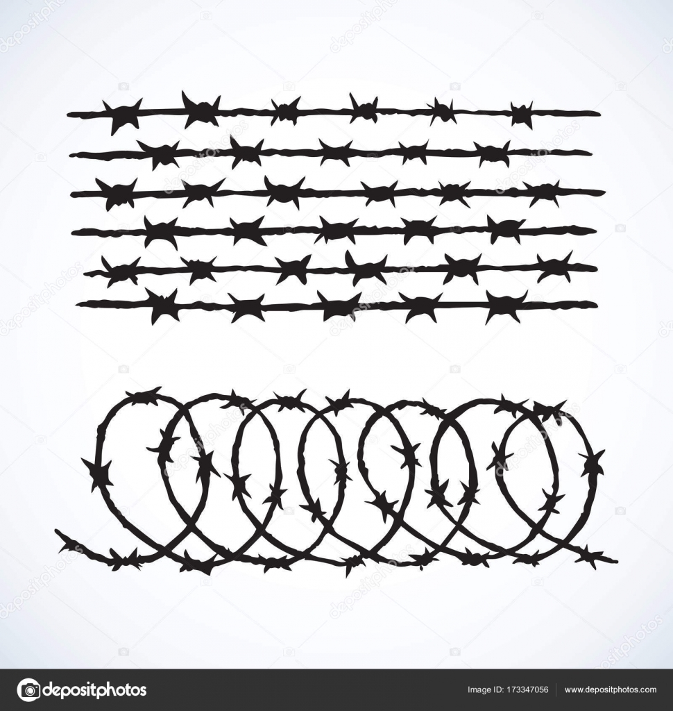 Barbed wire. Vector drawing — Stock Vector © Marinka #173347056