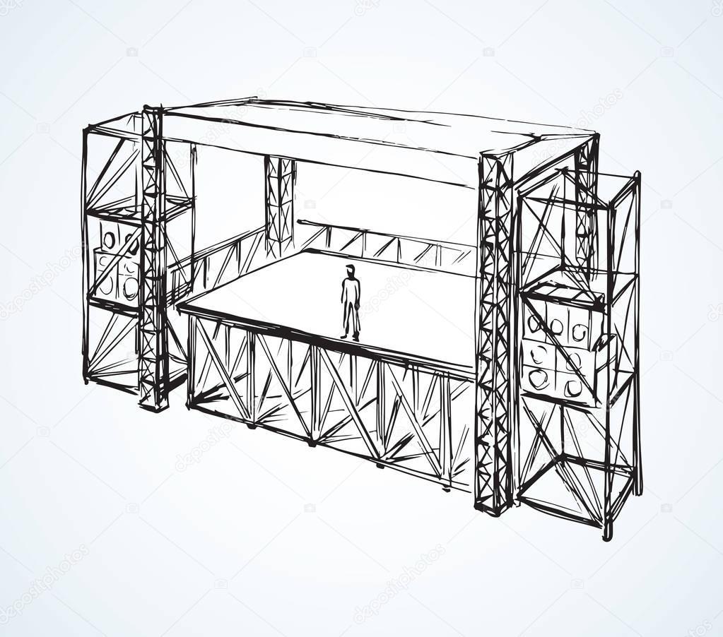 Sc ne de concert de podium dessin vectoriel image - Dessin podium ...