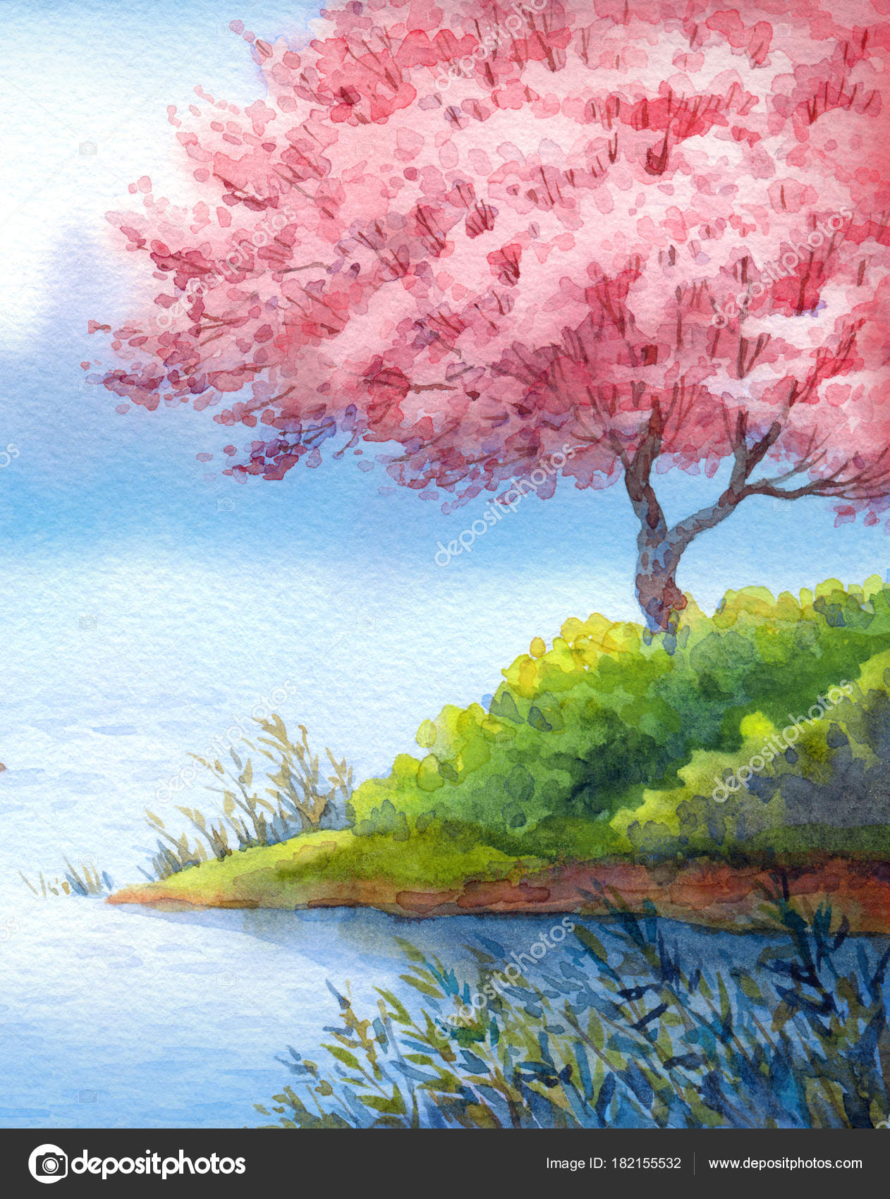Spring watercolor landscape flowering trees over lake stock photo colorful handmade bright romantic watercolour on paper backdrop card with space for text prime elegant fragrant fruit seedlings in bushes on island over izmirmasajfo