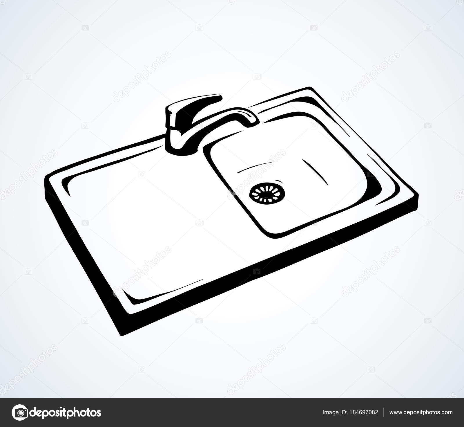 Kitchen Sink Drawing: Kitchen Sink. Vector Drawing