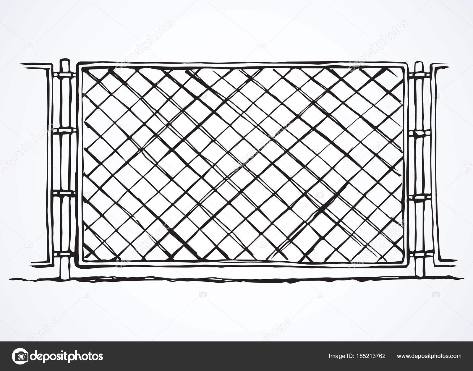 fence drawing. Fence. Vector Drawing \u2014 Stock Fence