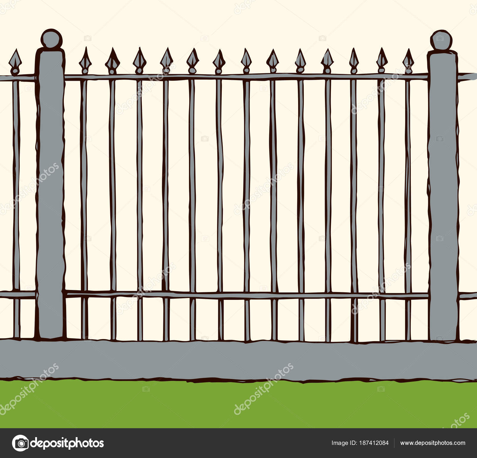 fence drawing. Fence. Vector Drawing \u2014 Stock Fence G