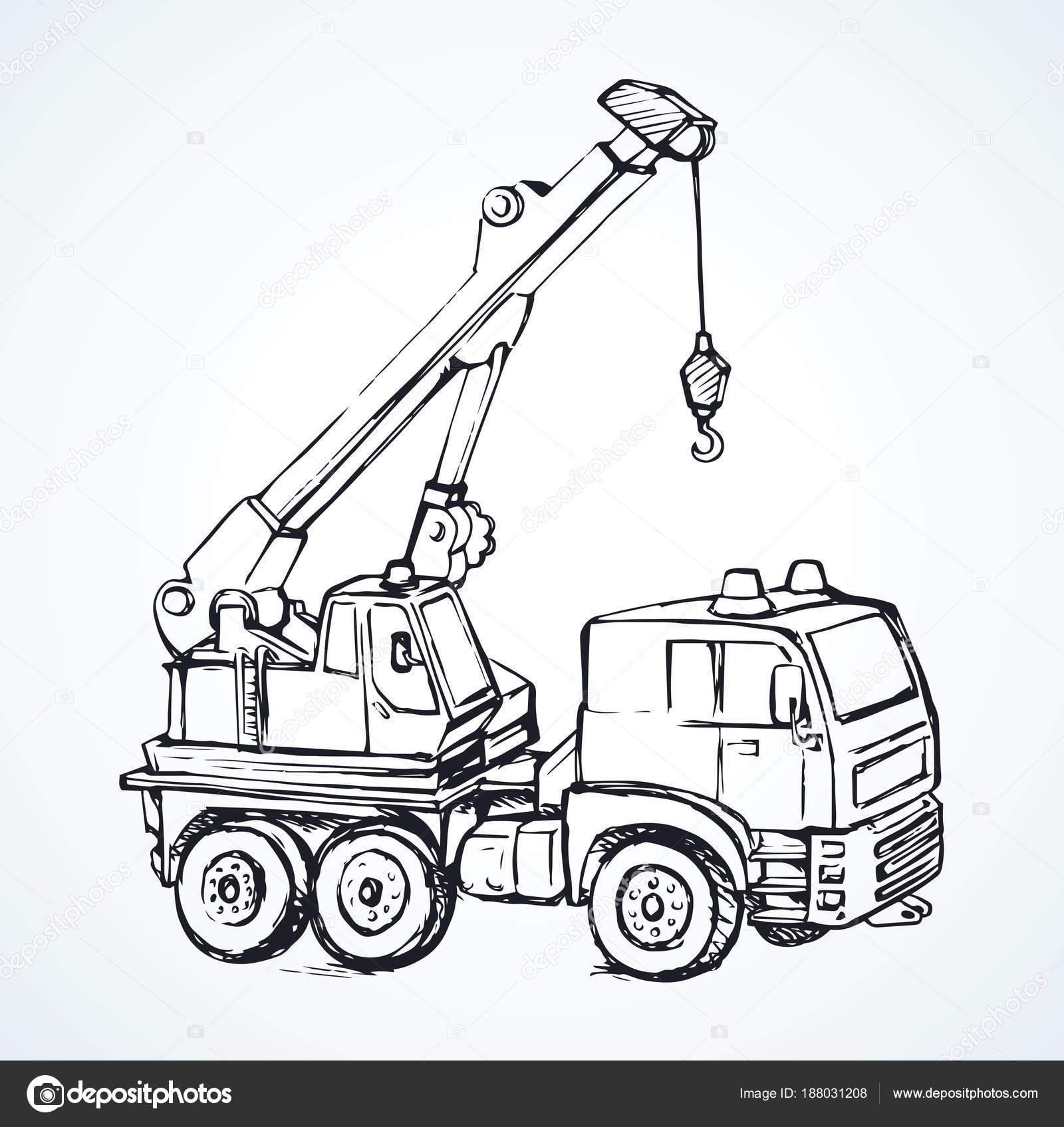 Máquina con la grúa. Dibujo vectorial — Vector de stock © Marinka ...