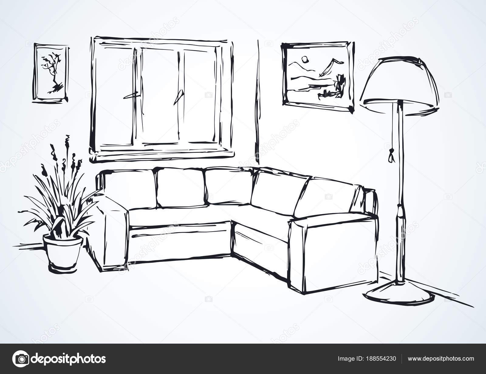 canapé d'angle. dessin vectoriel — image vectorielle marinka