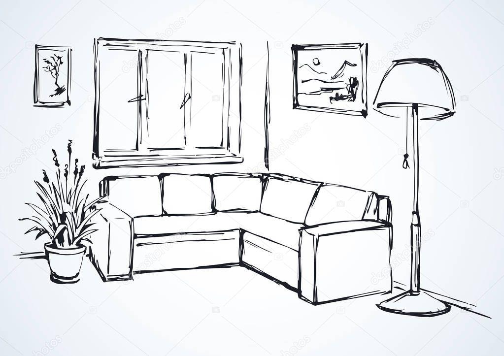 canap d angle dessin vectoriel image vectorielle. Black Bedroom Furniture Sets. Home Design Ideas
