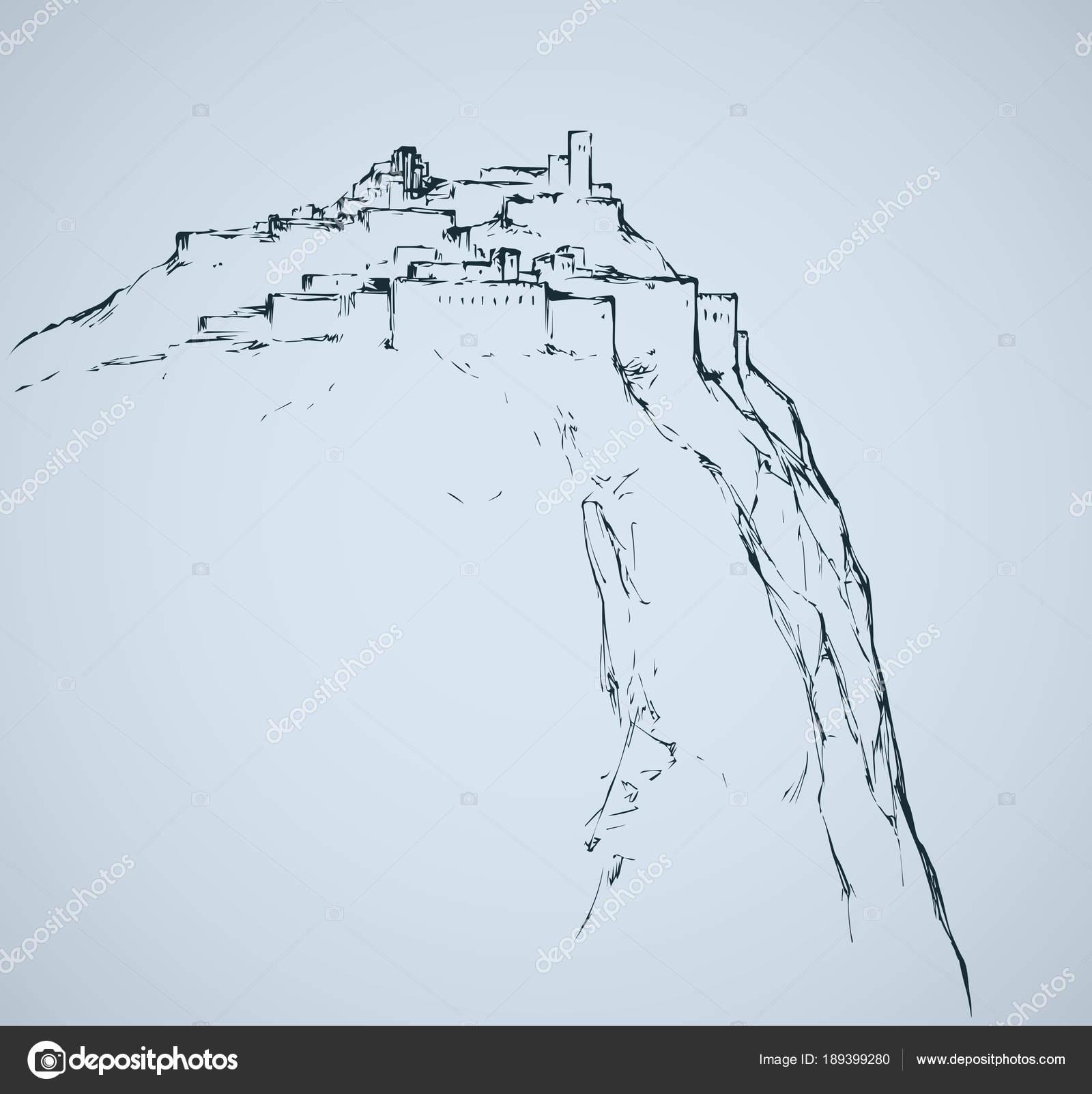 Ancienne Ville Sur Le Rocher. Dessin Vectorielu2013 Illustration De Stock