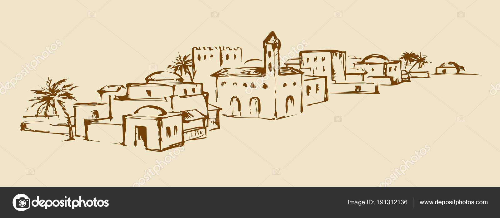 Vieille ville de l\'est. Dessin vectoriel — Image vectorielle Marinka ...