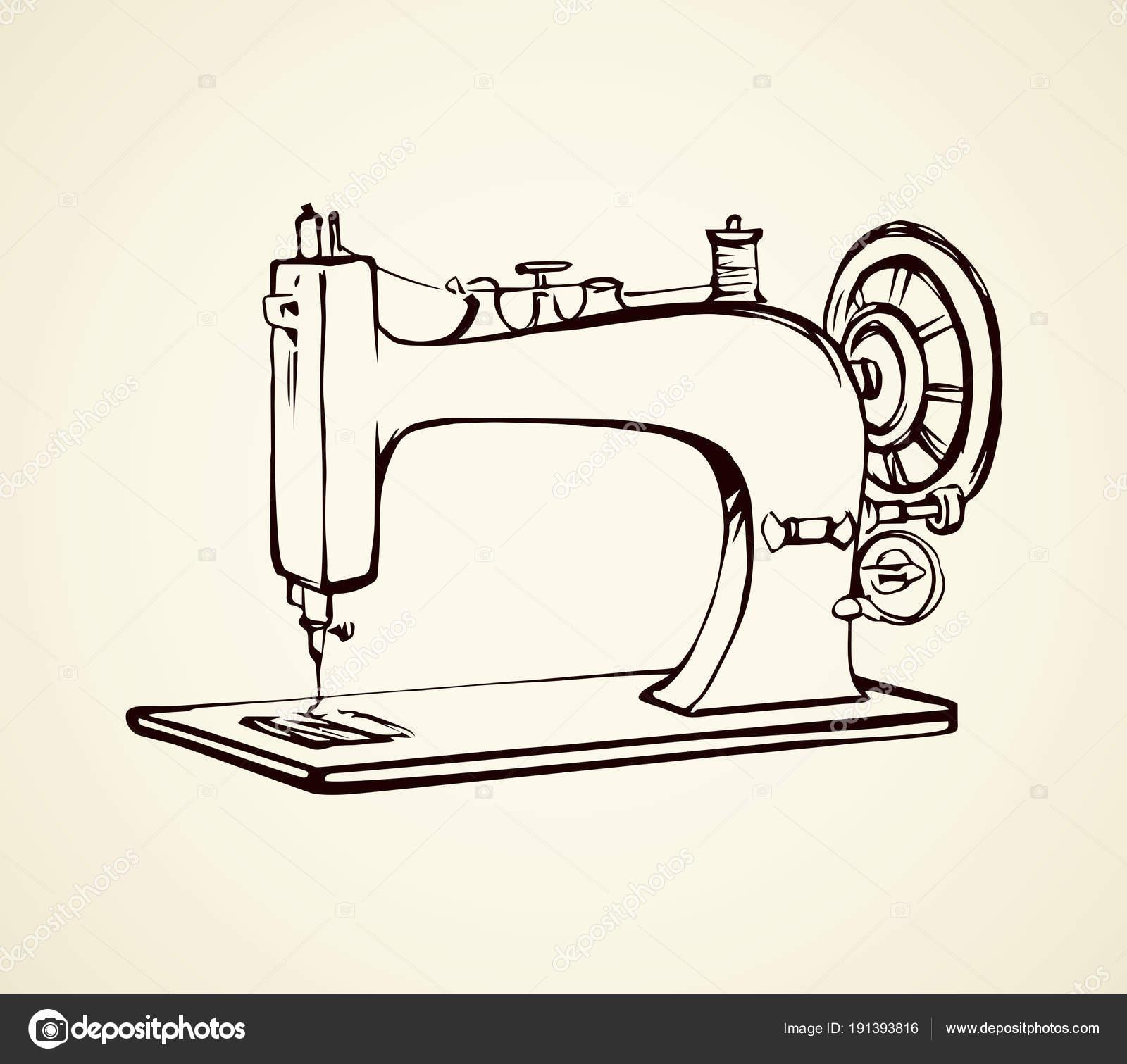 Máquina de coser. Dibujo vectorial — Archivo Imágenes Vectoriales ...