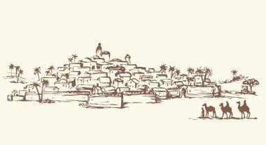 Magi go to Bethlehem. Vector drawing