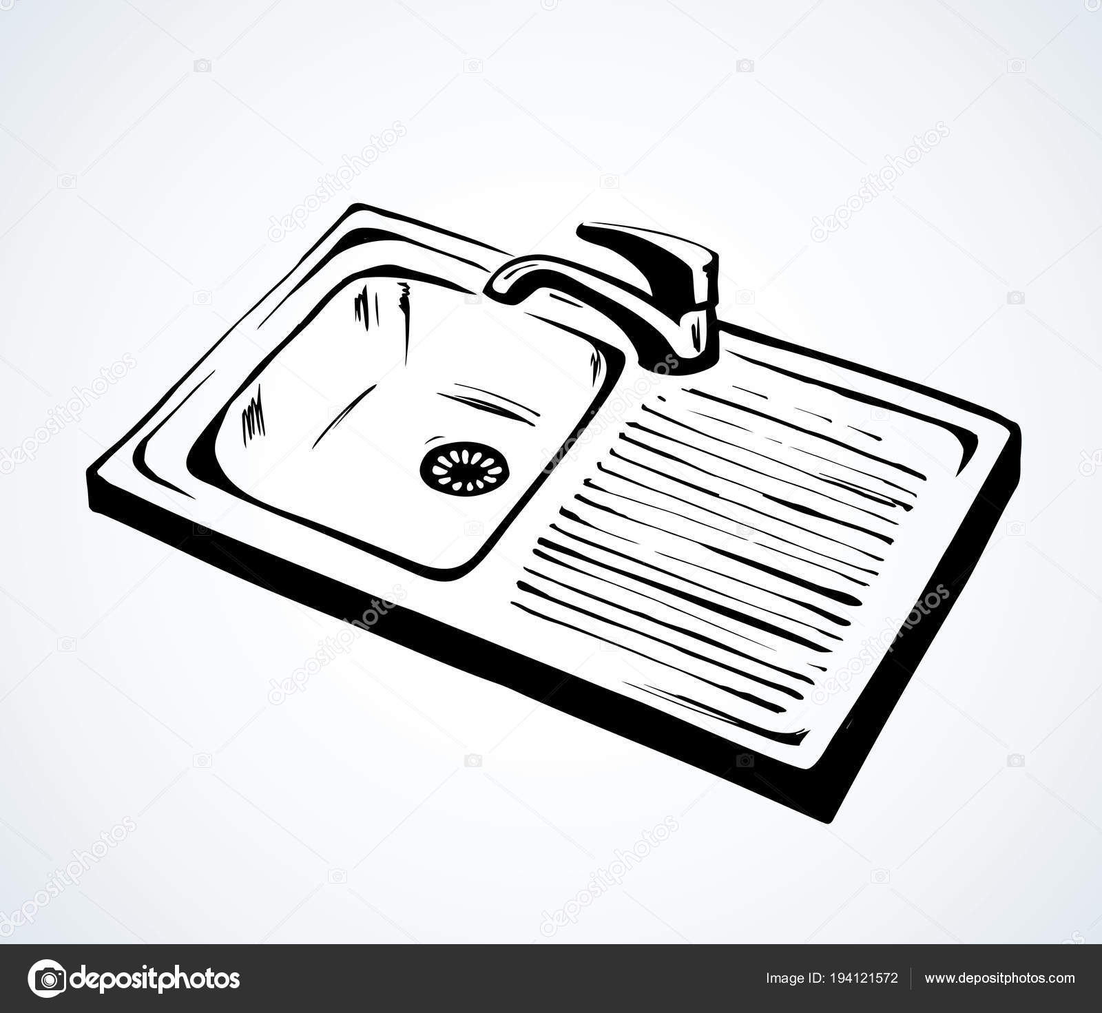 Kitchen Sink. Vector Drawing