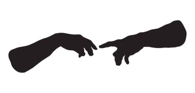 Hands of the creation of Adam. Vector drawing