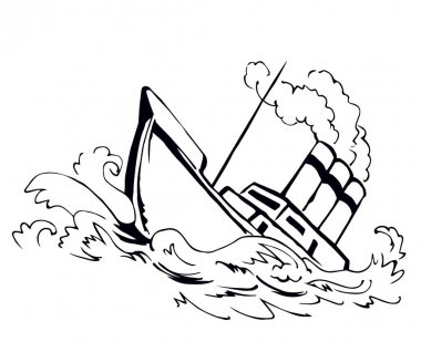Ancient wood rusty big frigate bottom mast remain on white sky text space. Outline black hand drawn deep maritime sink wind problem galleon logo sign icon sketch in art retro doodle cartoon line style