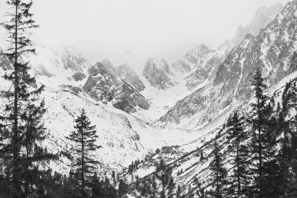 Mountain range, winter landscape.