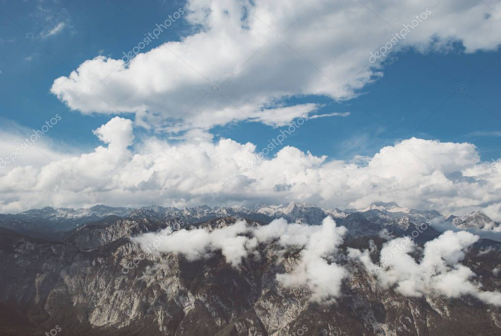 Mountain range covered with clouds, Julian Alps, Slovenia