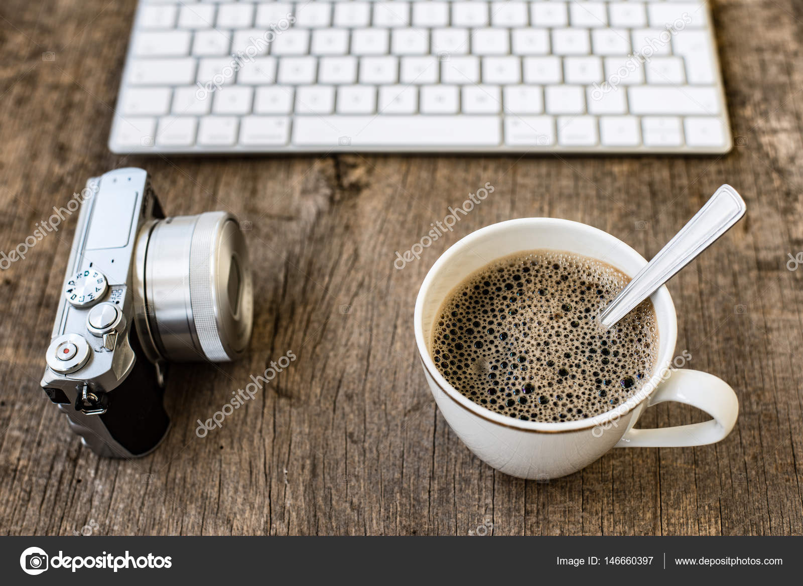 Office Table With Computer Keyboard Cup Of Coffee And Vintage Camera Retro On Rustic Wooden Desk Copy E Photo By Loriklaszlo