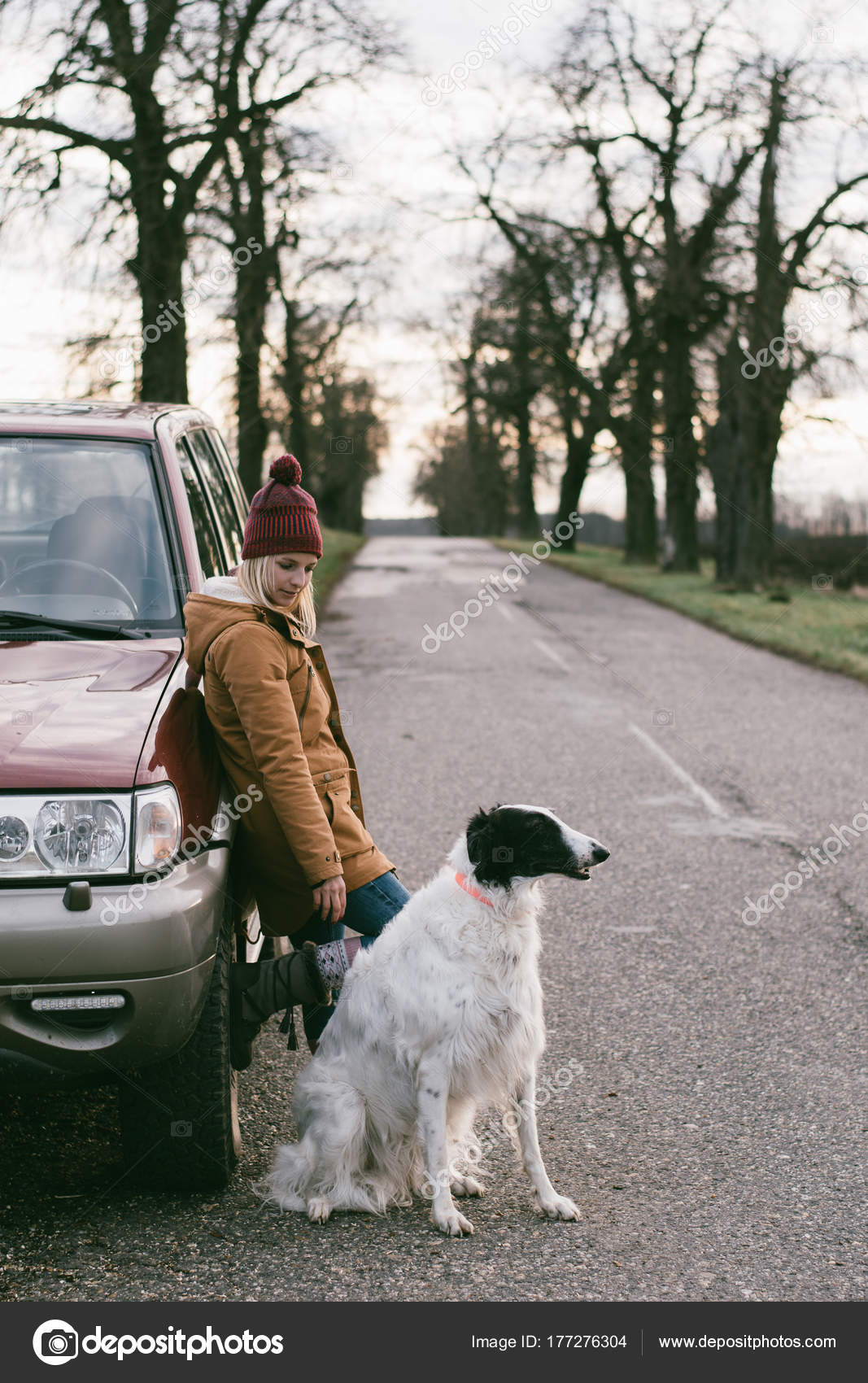 Travel Dog Woman Traveling Her Dog Standing Road Vehicle