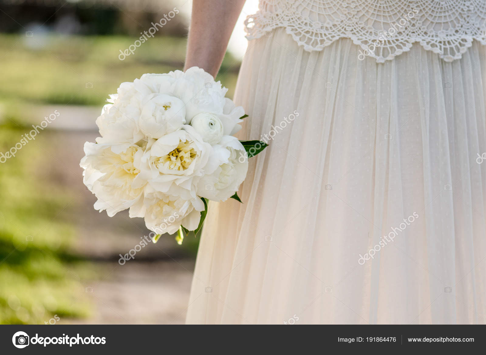 Bridal Bouquet Bride Holding Bunch Peony Flowers Beautiful White