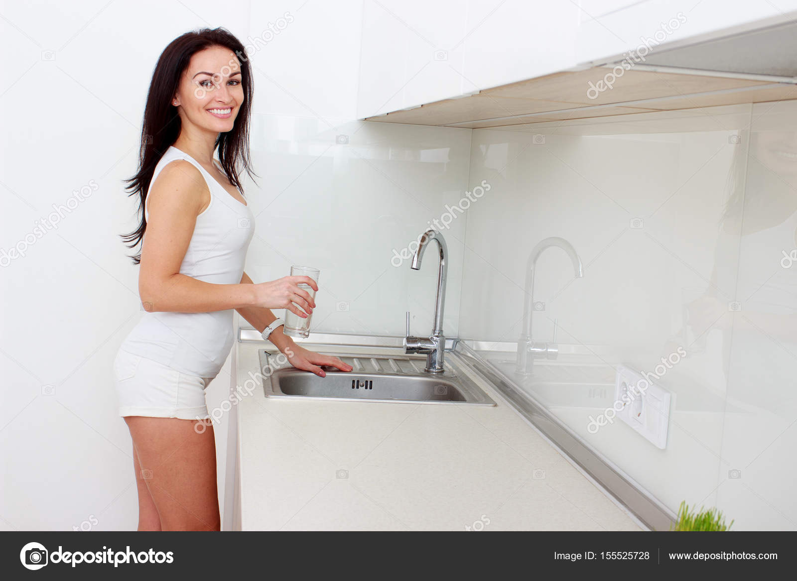 Woman Pouring Glass Of Water From Tap In Kitchen — Stock Photo ...