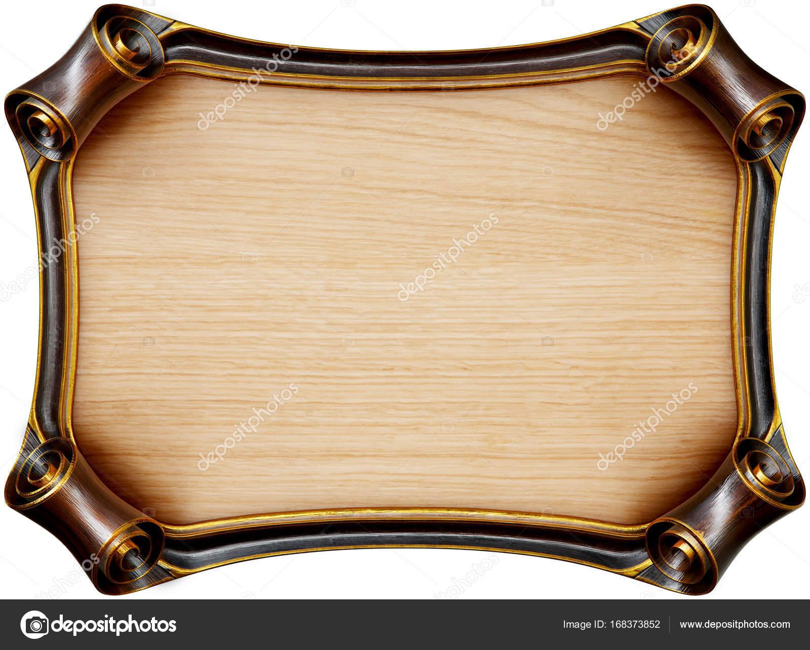 Hölzerne Schild mit braunem Holzrahmen. Isoliert auf weiss. 3D ...