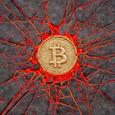 Bitcoin yanan bir volkanik kaya çökertildi. 3D çizim.