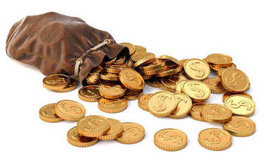 Gold coins fall out of a leather sack. Isolated on white background. 3D illustration.