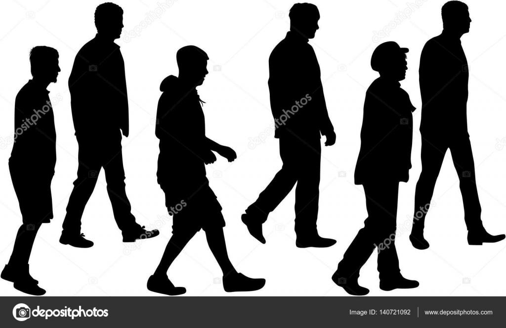 Multitud De Gente Silueta: Grupo De Personas. Multitud De