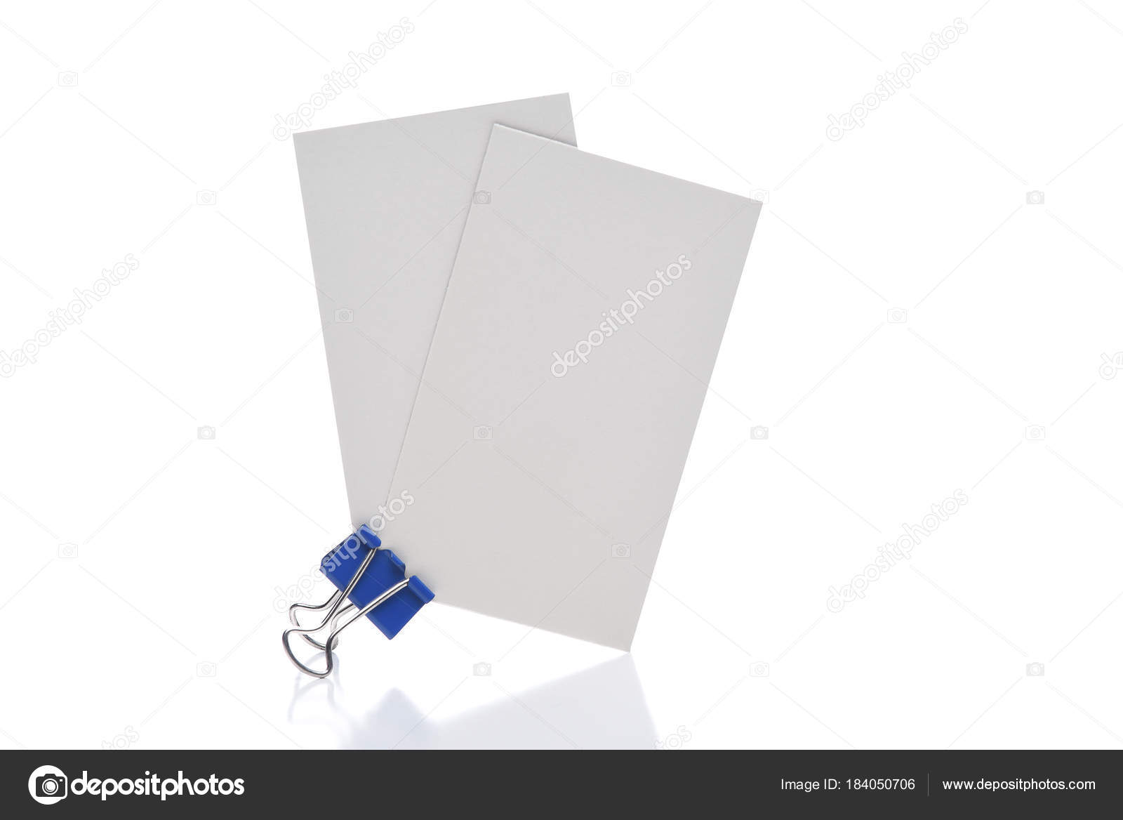 Closeup Two Blank Business Cards Held Blue Paper Clip Isolated ...