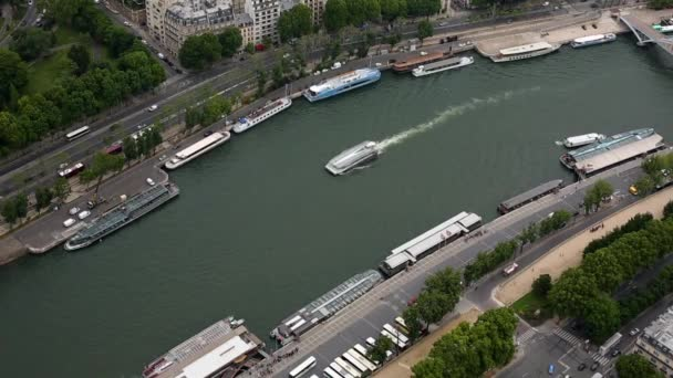 Vista aerea su Parigi e Sena fiume dalla Torre Eiffel, Parigi, Francia