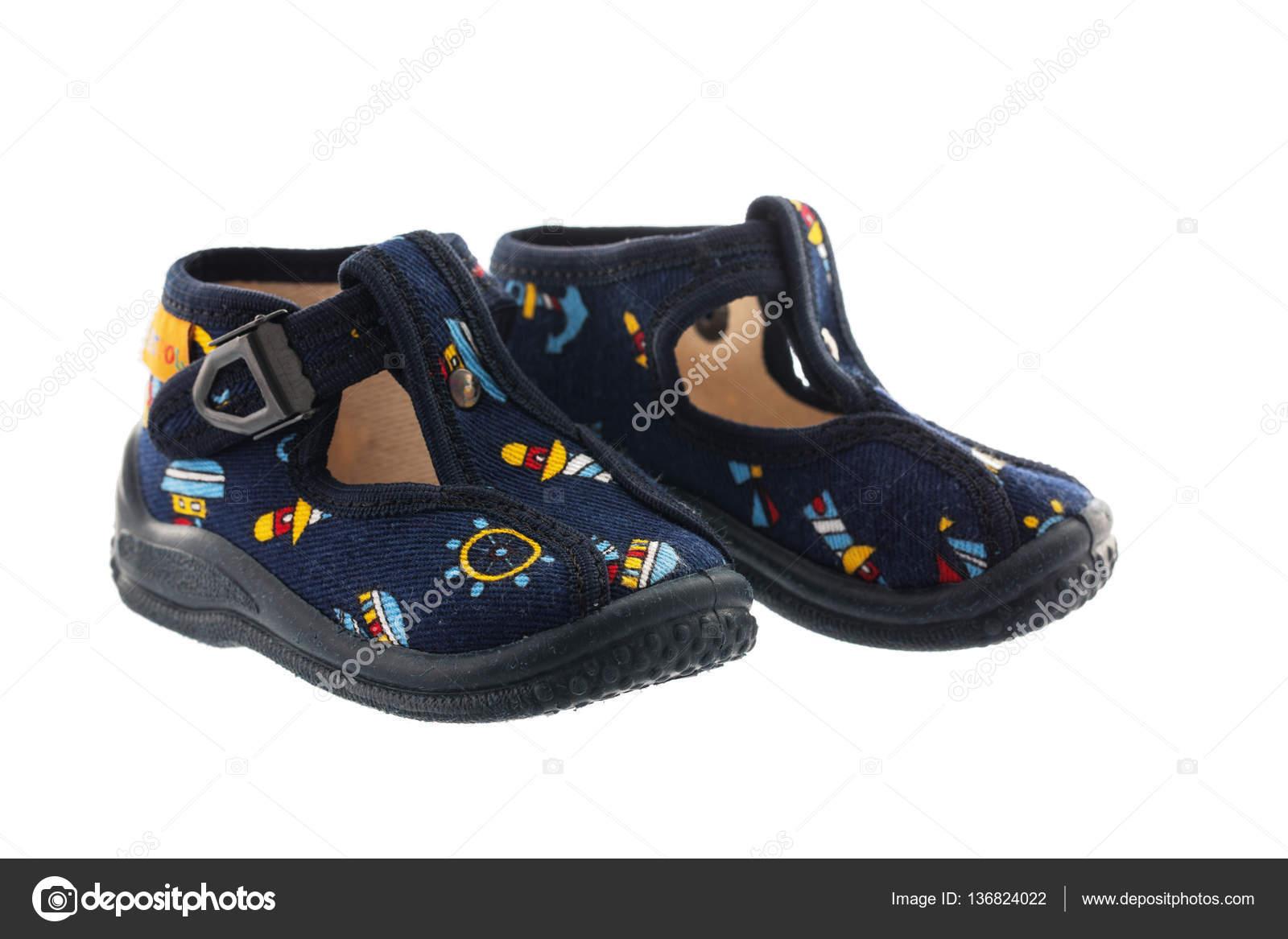 95ea99015 Blue baby shoes isolated on white background — Stock Photo ...