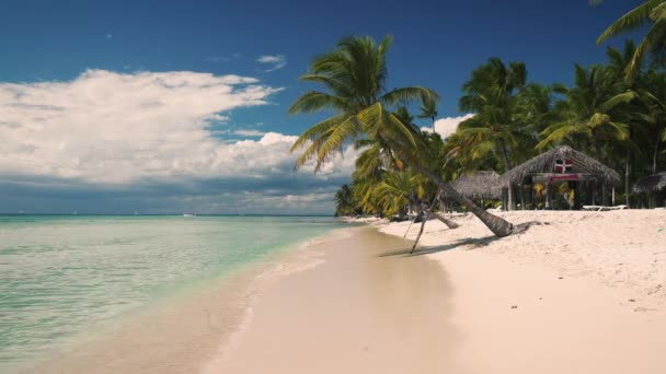 Summer holiday on tropical island Saona, Dominican Republic. Palm trees and beautiful sandy beach