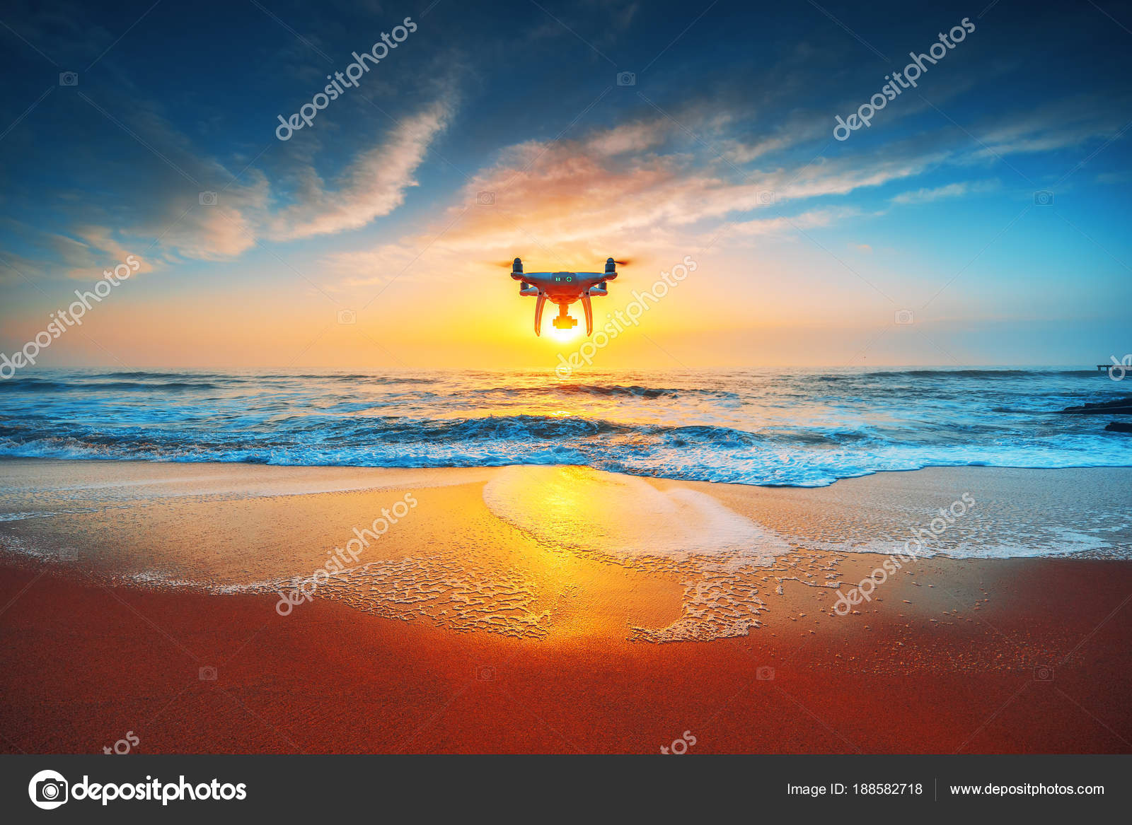 Beautiful Morning Over The Sea And Flying Drone Stock
