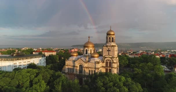 Rainbow over The Cathedral of Assumption in Varna, Bulgaria and city center